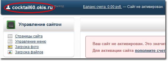 Кликаем по ссылке адреса сайта в левом верхнем углу, чтобы посмотреть, как выглядит сайт на okis.ru