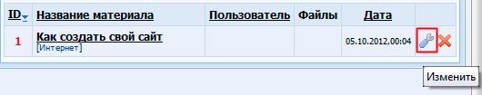 Чтобы подтвердить размещение сайта в каталоге, нажмите гаечный ключик