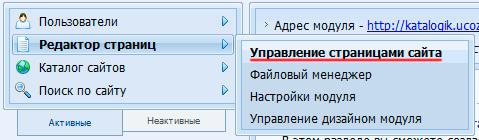 Управление страницами сайта на ucoz